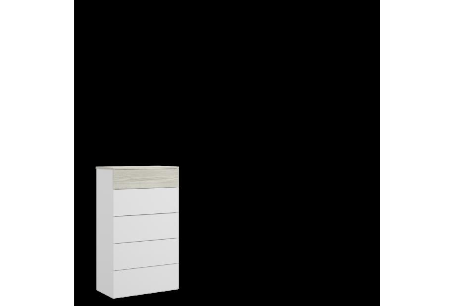 Sinfonier de 5 cajones 62 cm color blanco brillo y gris