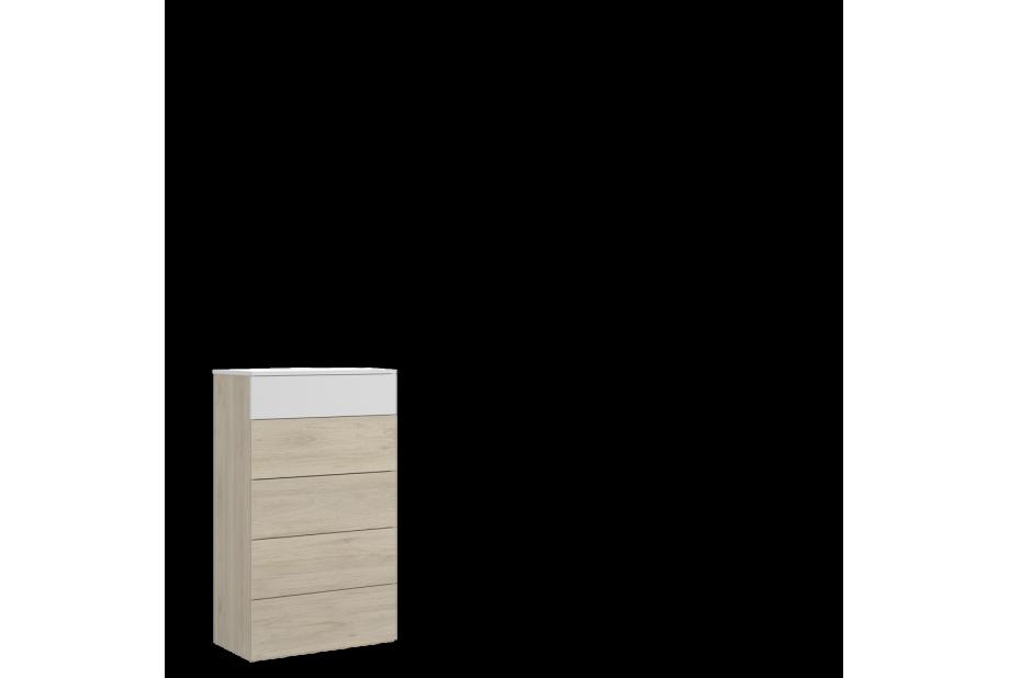Sinfonier de 5 cajones 62 cm color natural y blanco brillo