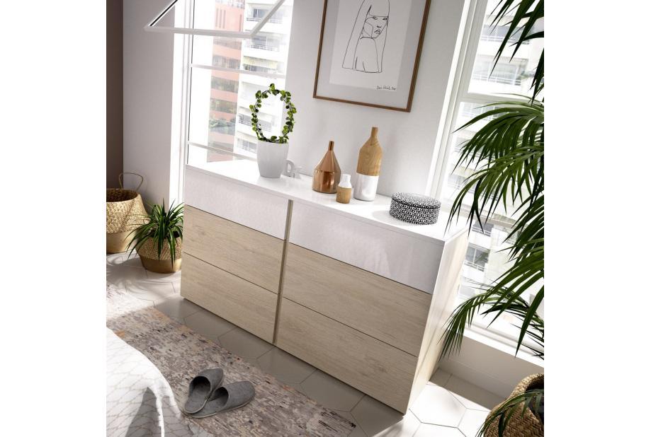 Comoda de 6 cajones 122 cm color natural y blanco brillo