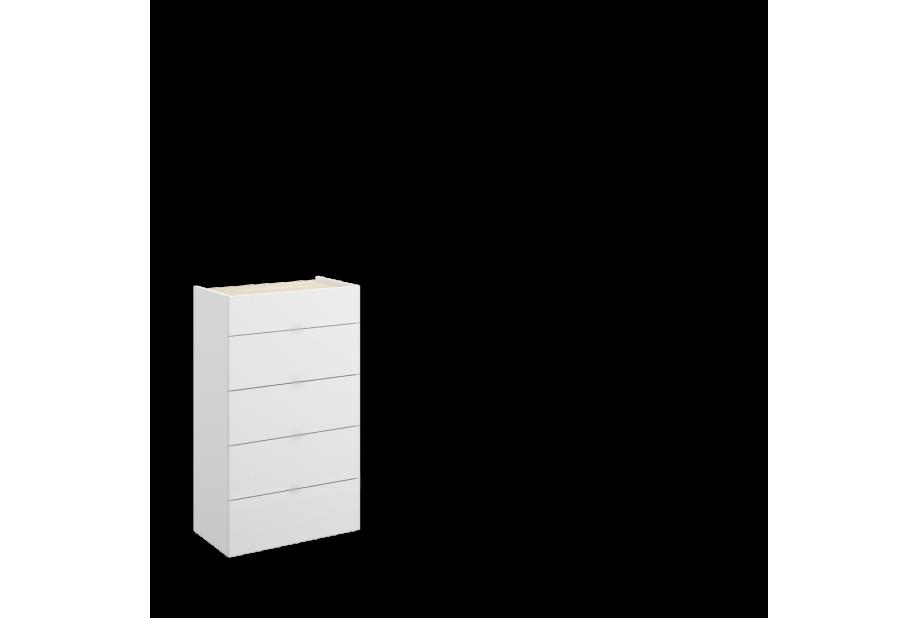 Sinfonier de 5 cajones 60 cm color blanco brillo y natural