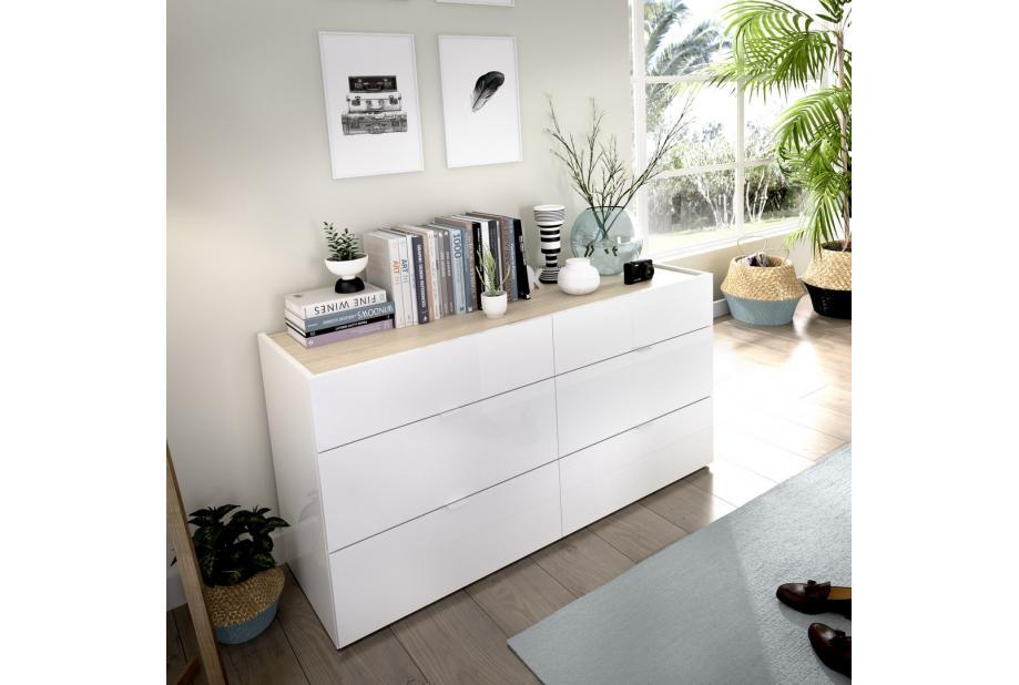Comoda de 6 cajones 120 cm color blanco brillo y natural