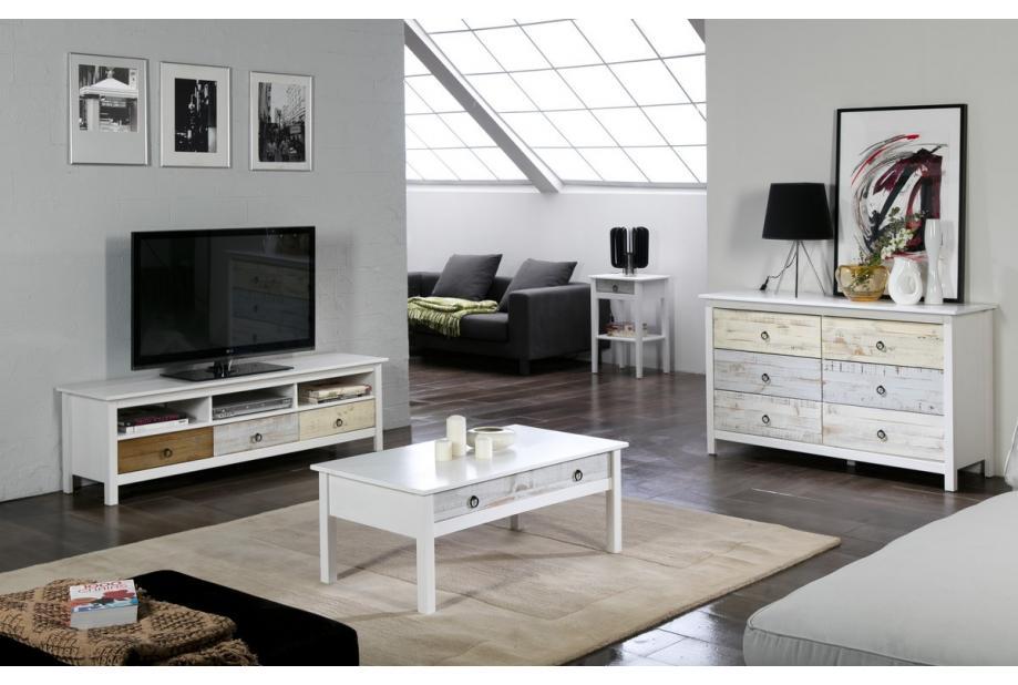 Mesa de centro en pino 100 cm moderna y barata de pino en blanco y multicolor