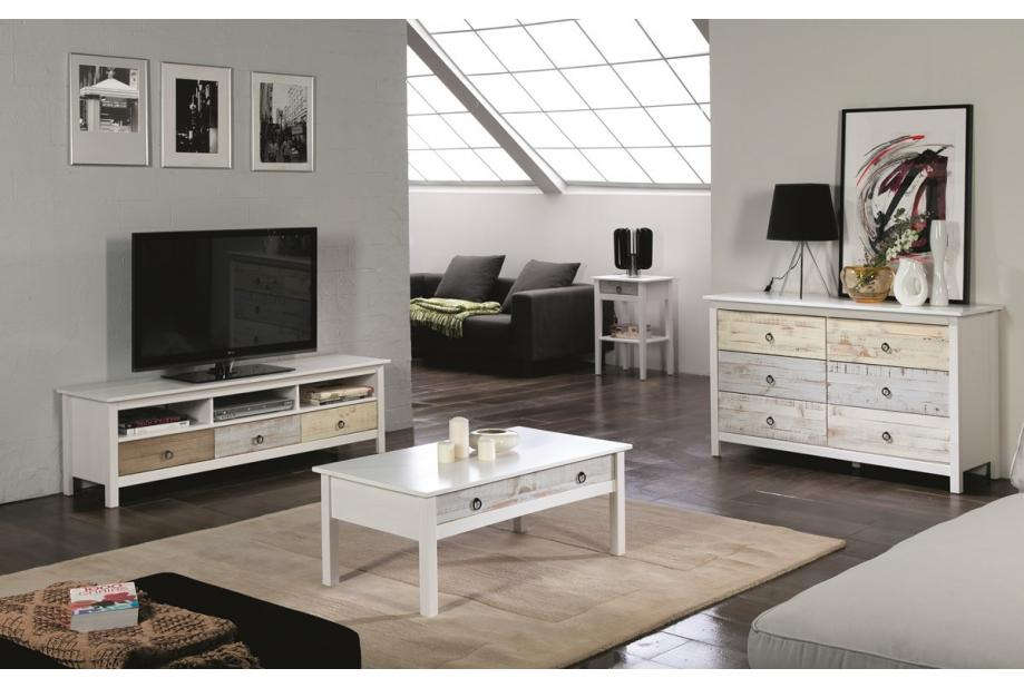 Comoda en pino de 6 cajones 130 cm moderna y barata de pino en blanco y multicolor