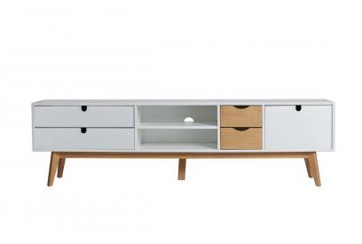 Mueble de TV en pino y dm en color blanco y cera de 180 cm