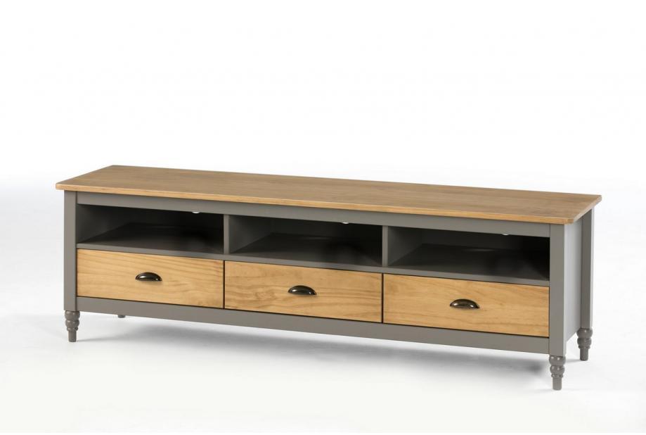 Mueble de TV en pino color gris de 158 cm