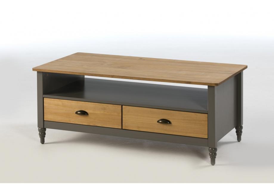 Mesa de centro en pino color gris de 177 cm