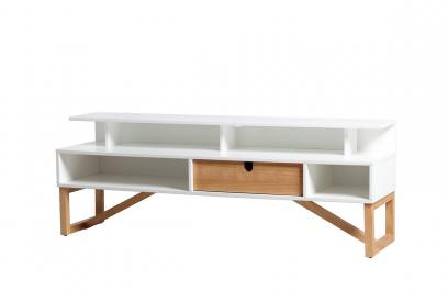 Mueble de TV en pino y dm en color blanco de 137 cm