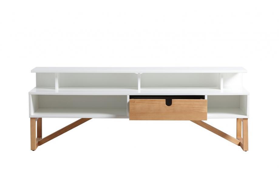 Mueble de TV en pino y dm en color blanco de 137 cm