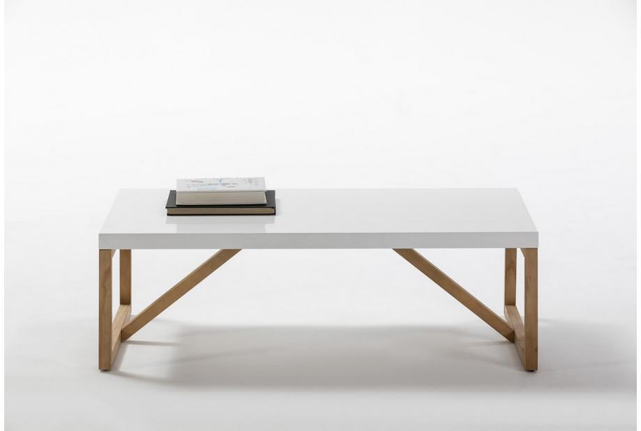 Mesa de centro en pino y dm en color blanco de 110 cm