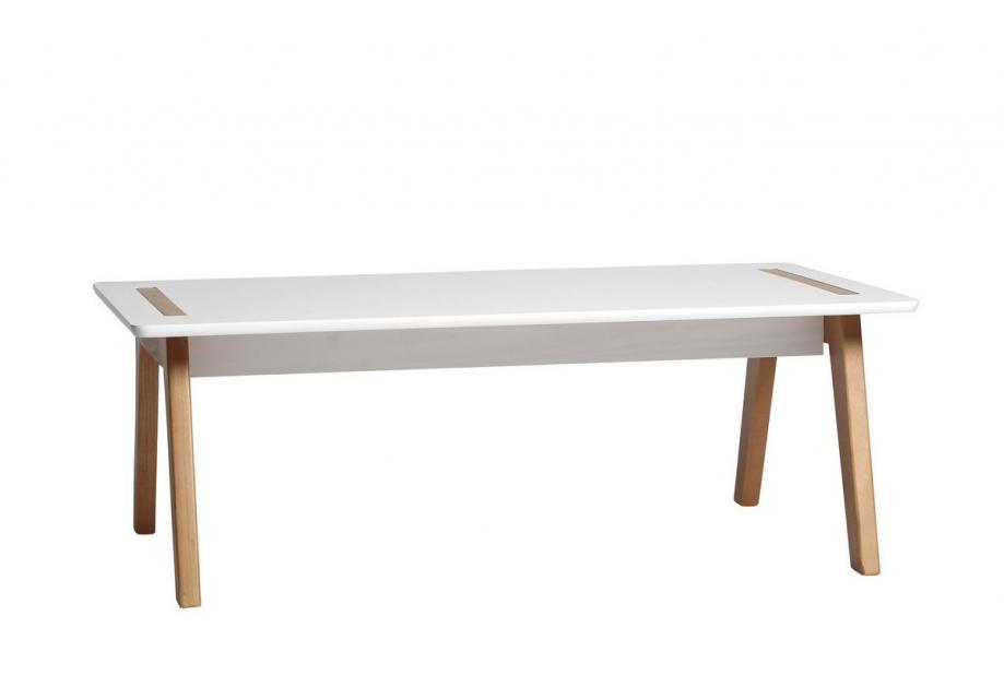 Mesa de centro en pino y dm color blanco de 100 cm