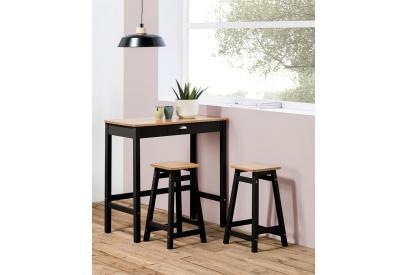 Conjunto de mesa y 2 taburetes en pino de 90 cm