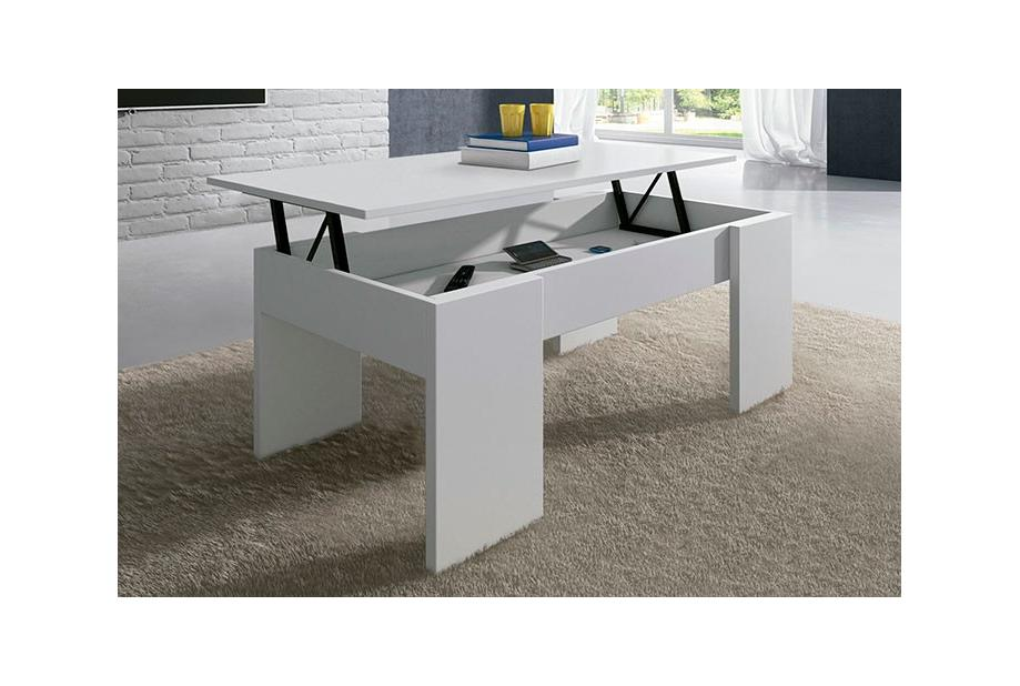 Mesa de centro elevable en color blanco