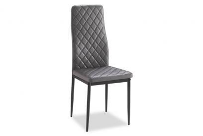 JUEGO DE 6 SILLAS tapizado gris y estructura metálica en negro
