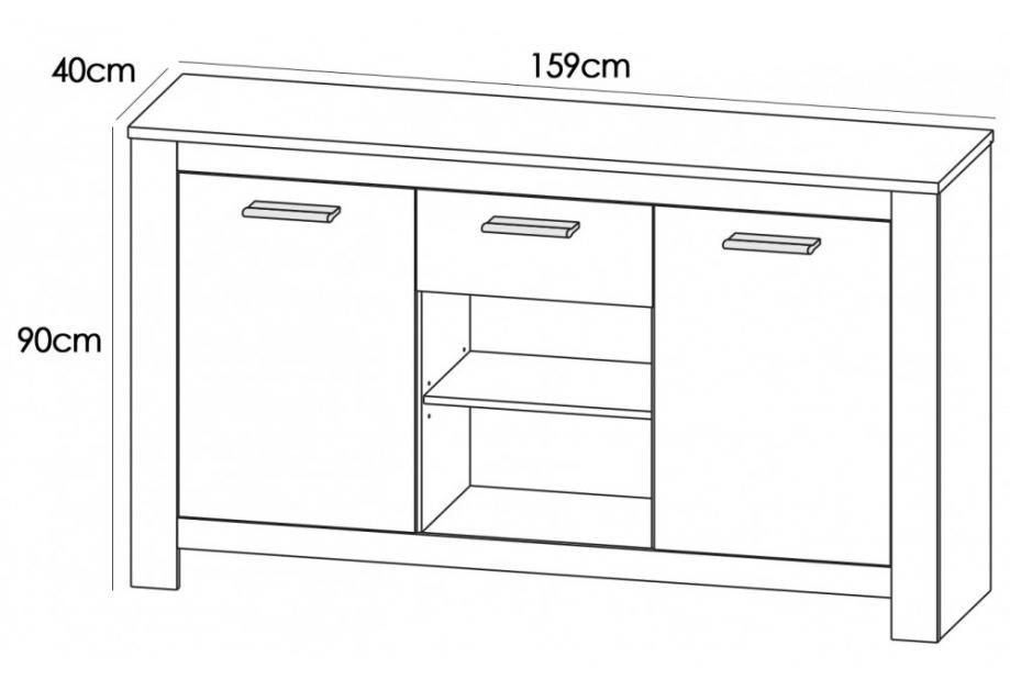 Aparador rustico moderno de 159 cm en color blanco y cambrian