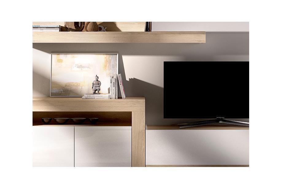 Salón compacto en color natural y blanco brillo