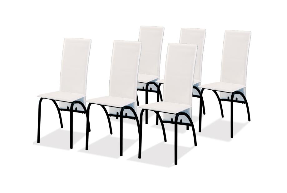 Pack 6 sillas polipiel blanco