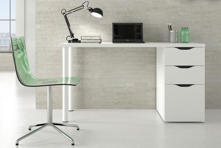 Mesas de oficina liquidatodo escritorio blanco con for Mesas puestas con estilo