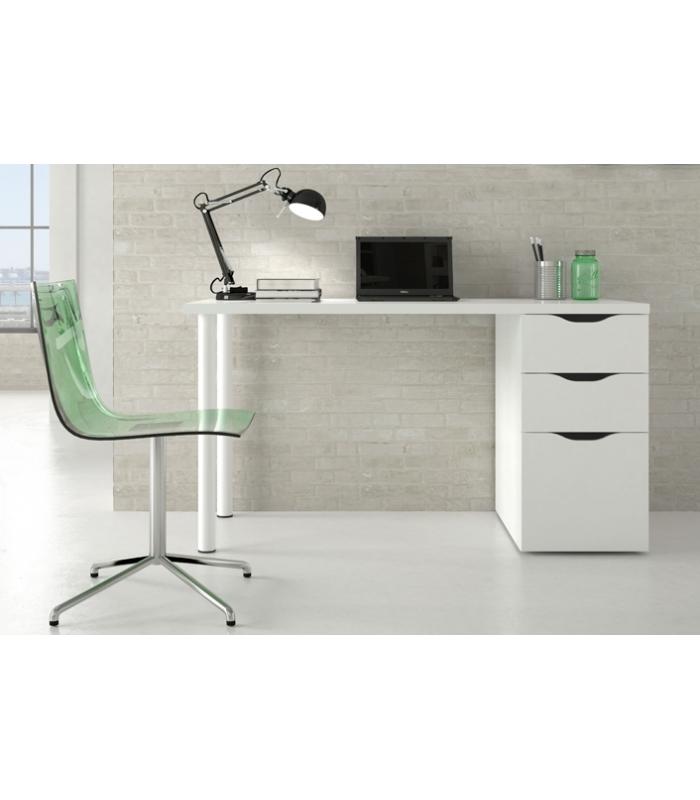 Mesas de oficina liquidatodo escritorio blanco con for Mesa estudio con cajones