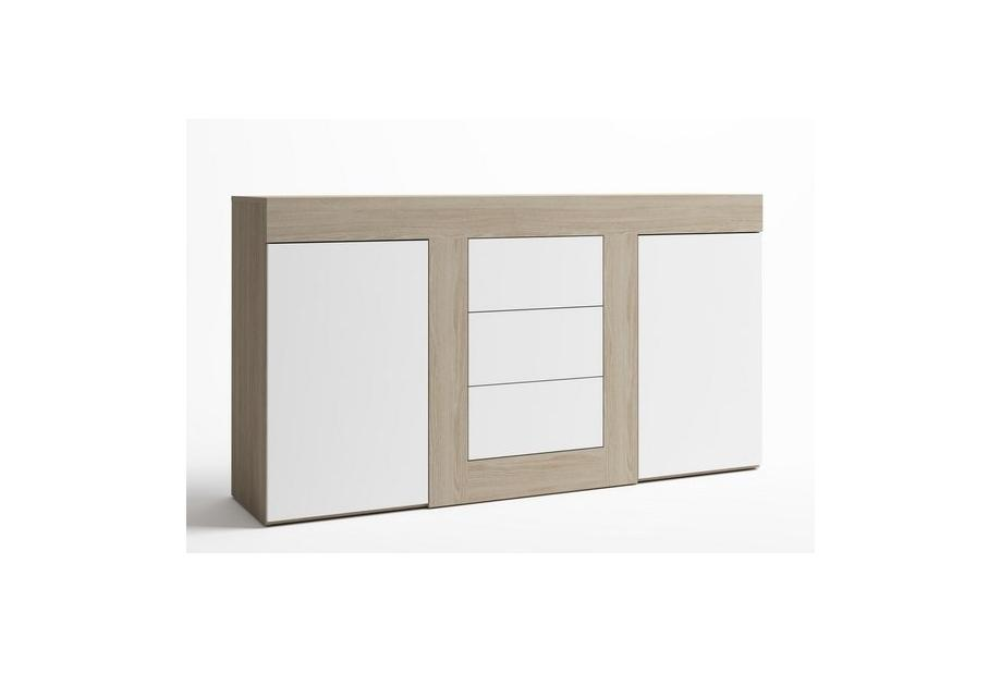 Aparador de 2 puertas y 3 cajones moderno y barato de 140cm en sade blanco