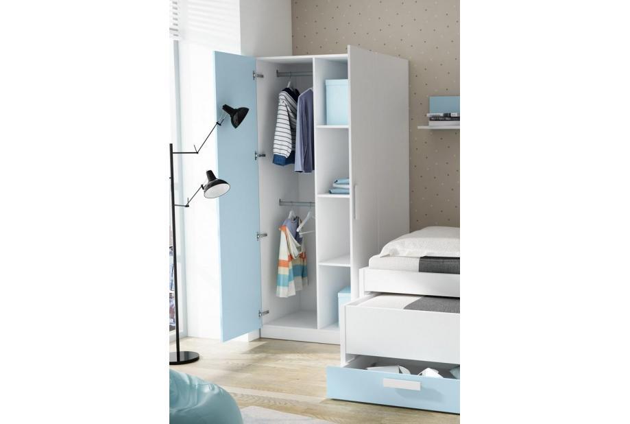 Armario juvenil de 2 puertas moderno y barato de 90 cm Blanco y azul nube
