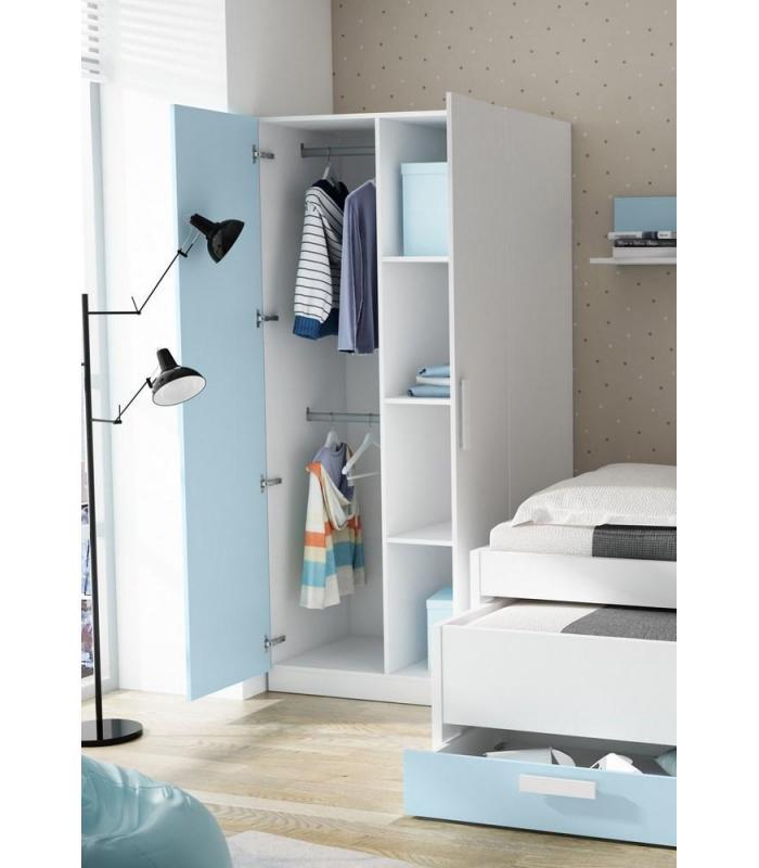 Armario Aereo Cozinha Planejado ~ Armarios Liquidatodo Armario juvenil de 2 puertas moderno y barato de 90 cm Blanco y azul nube