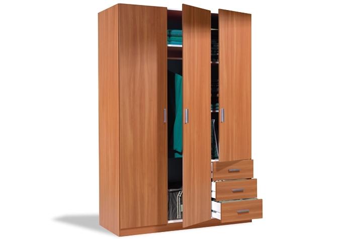 Armario de 3 puertas batientes y 3 cajones castaño