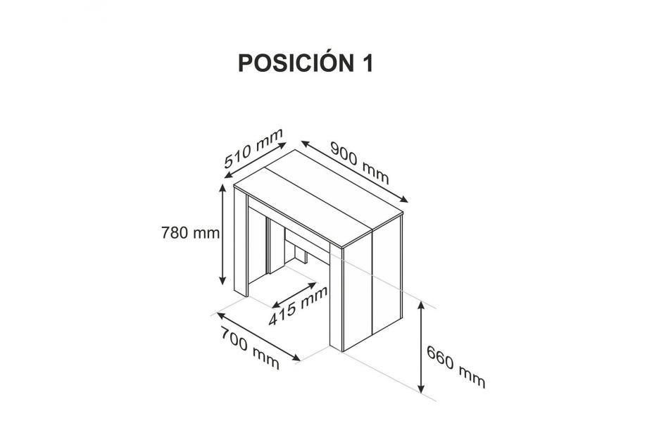 Mesa consola extensible moderna y barata de 51 cm a 239 cm en blanco brillo