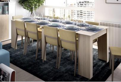 Mesa consola extensible moderna y barata de 51 cm a 239 cm en color natural