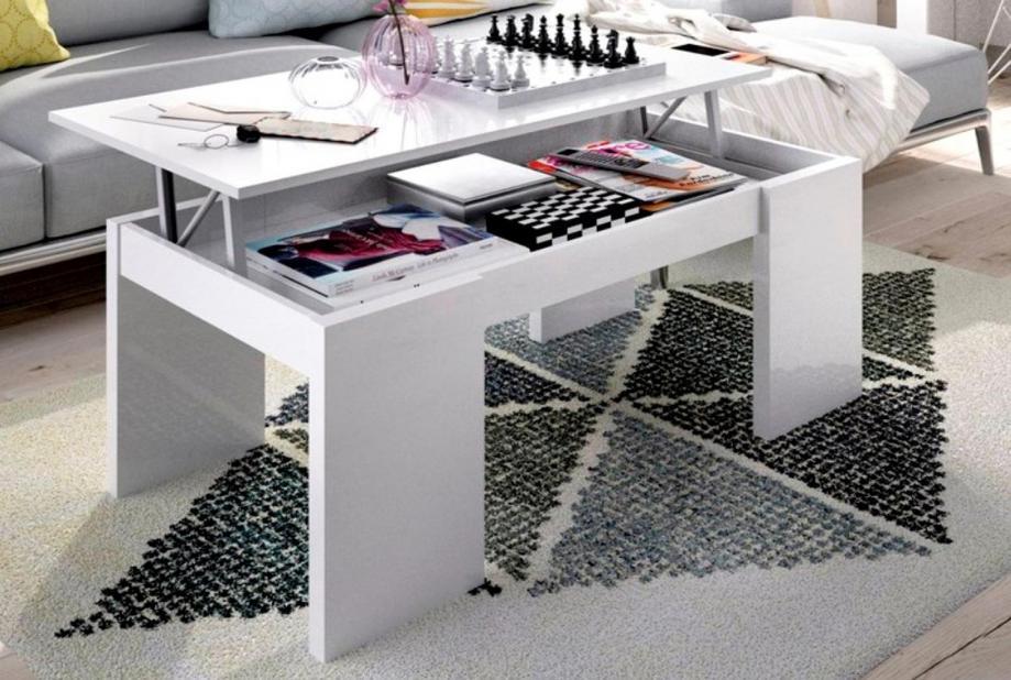 Mesa de Centro moderna y barata en blanco brillo