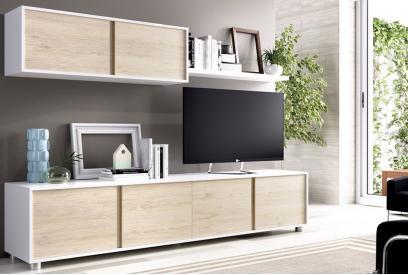 Composicion de salon moderna y barata de 200cm en Blanco brillo y Natural