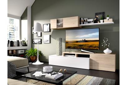 Composición de salón moderna y barata de 200 cm en blanco brillo y color natural - Elle