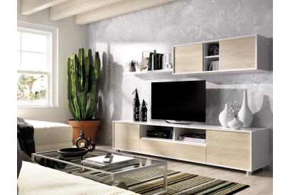 Salón moderno y barato de 200 cm en blanco brillo y color natural - Kube