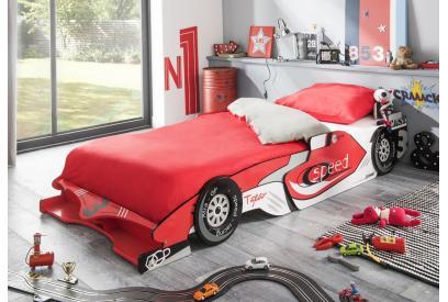 Coche cama 100 cm moderno y barato en rojo y blanco