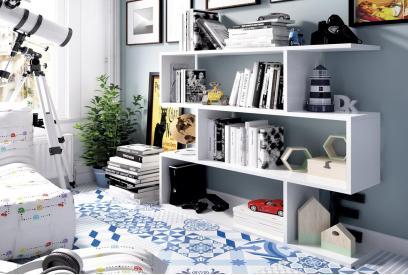 Estantería blanca con diseño irregular moderna y barata de 110 cm