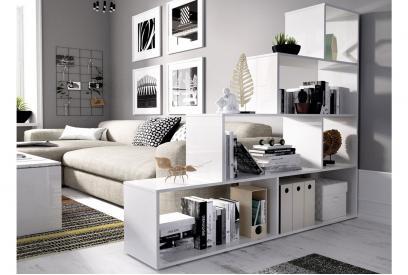 Estantería de diseño escalonado moderna y barata en color blanco brillo de 145 cm