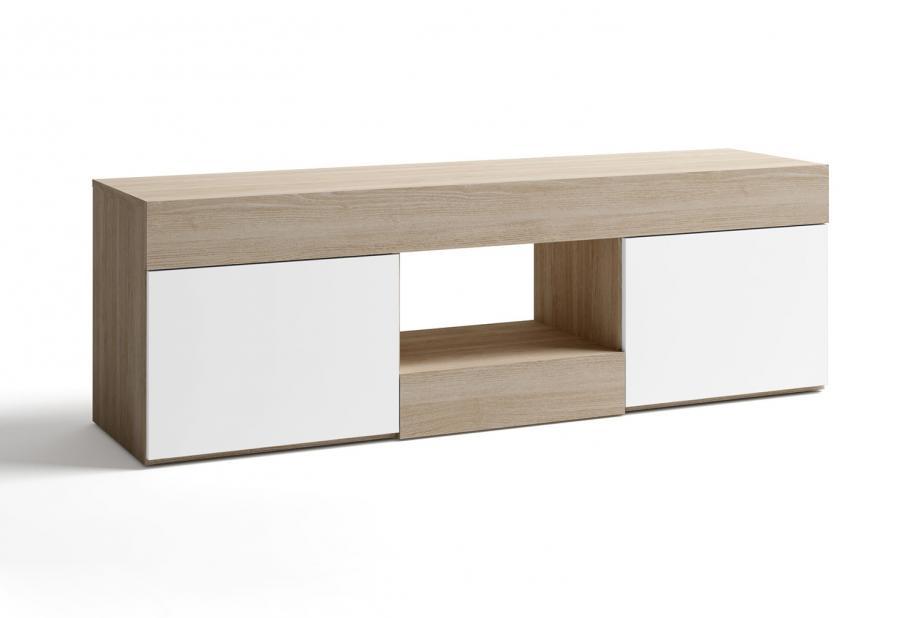 Mueble de television moderno y barato con 2 puertas color sable blanco
