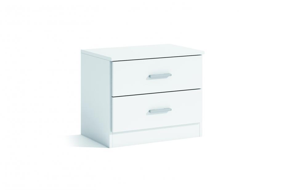 Mesita de 2 cajones moderna y barata en color blanco