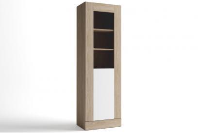 Vitrina de salon de 80 cm con 2 puertas de crista moderna y barata en color Sable y Blanco