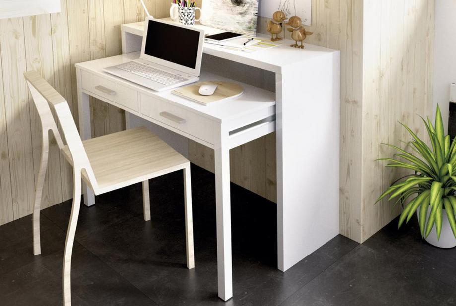 Mesa de escritorio extensible moderna y barata de 100cm en blanco brillo
