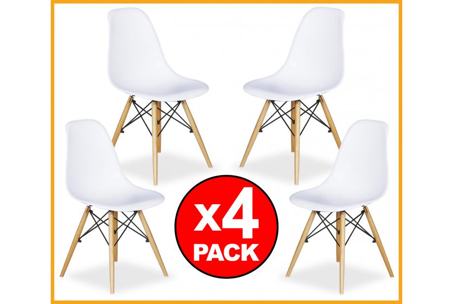 Topwer- Conjunto PACK 4 SILLAS comedor modernas y baratas estilo Eames en  blanco