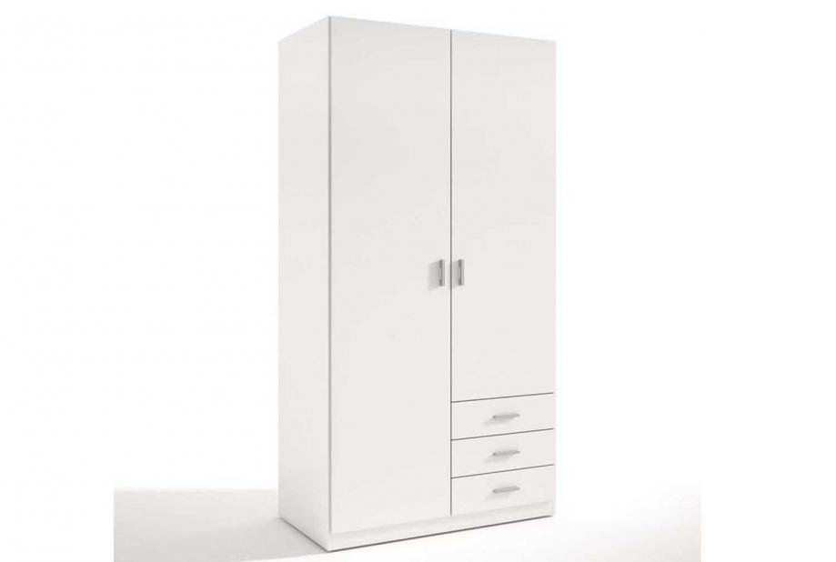 Armario de 2 puertas y 3 cajones moderno y barato de 99 cm Blanco
