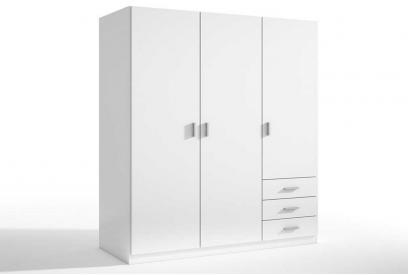 Armario de 3 puertas y 3 cajones moderno y barato de 129 cm color Blanco