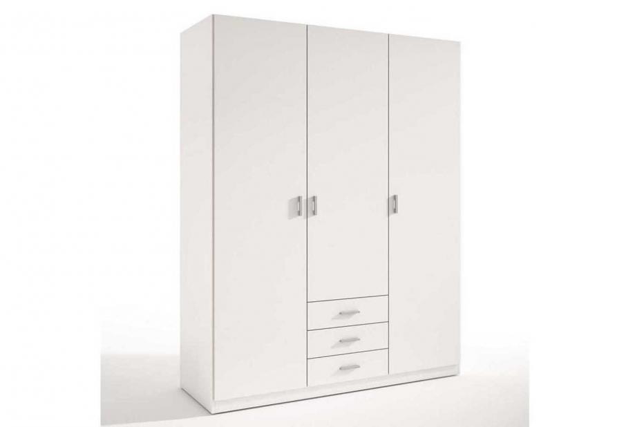 Armario roma de 3 puertas y 3 cajones moderno y barato blanco