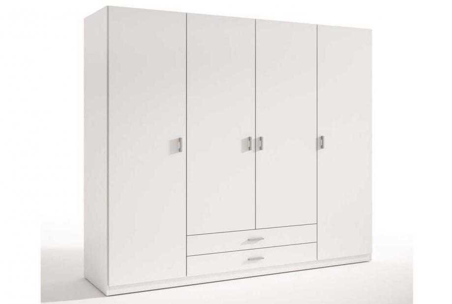 Armarios liquidatodo armario de 4 puertas y dos cajones moderno y barato de 198 cm blanco - Armario ropero 4 puertas ...