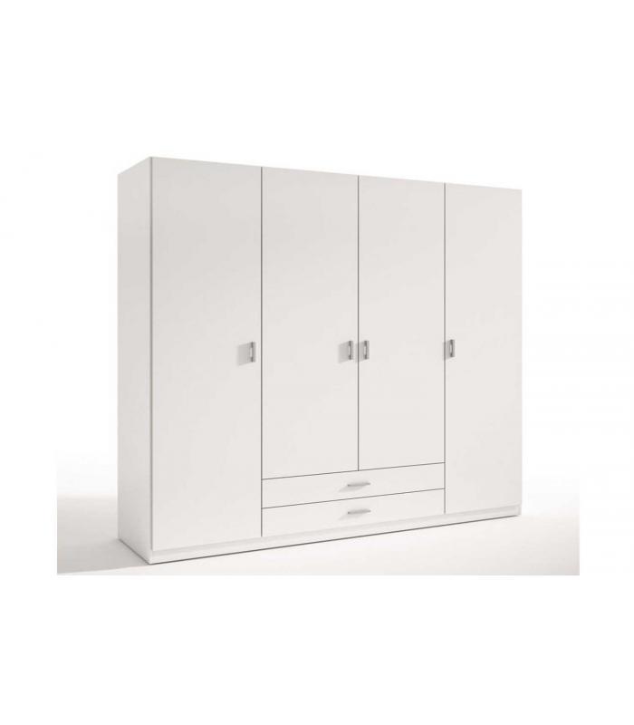 Armario Quarto Madeira Maciça ~ Armarios Liquidatodo Armario de 4 puertas y dos cajones moderno y barato de 198 cm Blanco