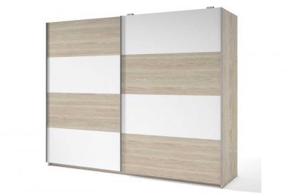Armario de 2 puertas correderas moderno y barato de 201 cm bicolor Sable y Blanco