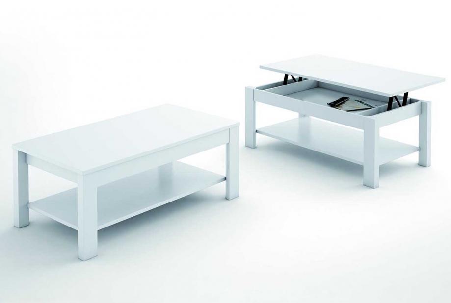 Mesa de centro elevable moderna y barata de 110X60cm color Blanco