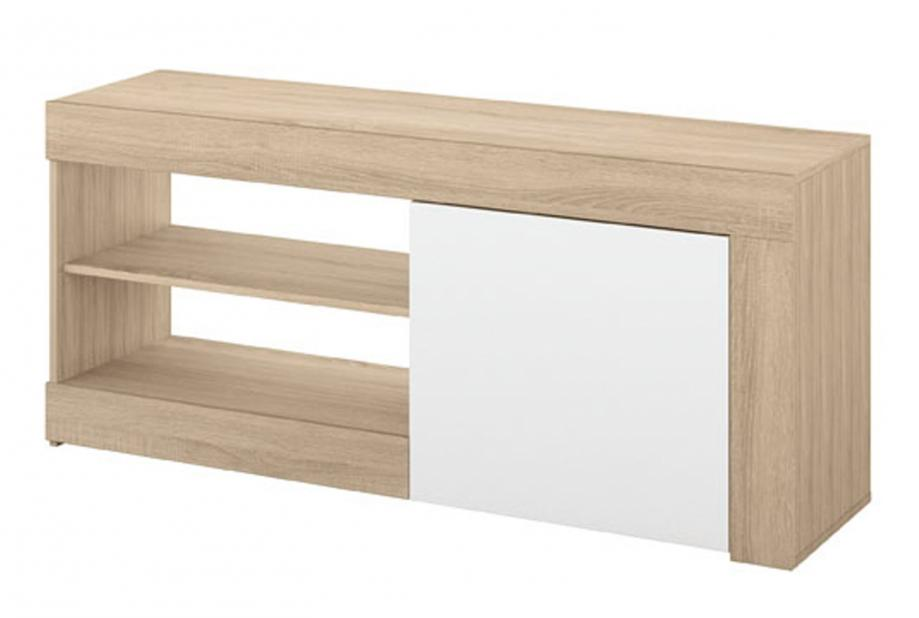 Mueble de tv moderno y barato 1 puerta y 2 huecos color cambrian y blanco