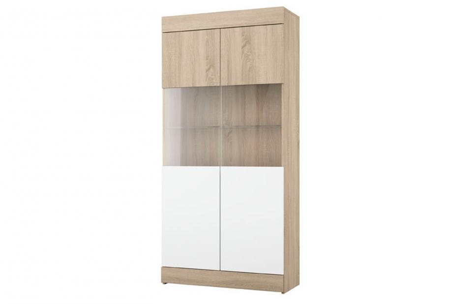 Vitrina de 2 puertas moderna y barata en color cambrian y blanco