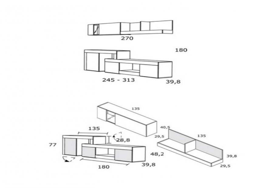 Composición de salón moderna y barata de 270 cm en blanco y cambrian - Logan